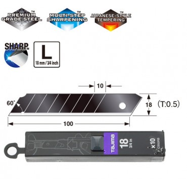 Сегментні леза Premium 18мм TAJIMA DORA  Razar Black Blades CB50RB, 10 шт.
